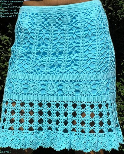Вязаная крючком юбка на лето