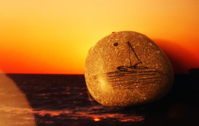 рисунок, парусник, море, камень, стих