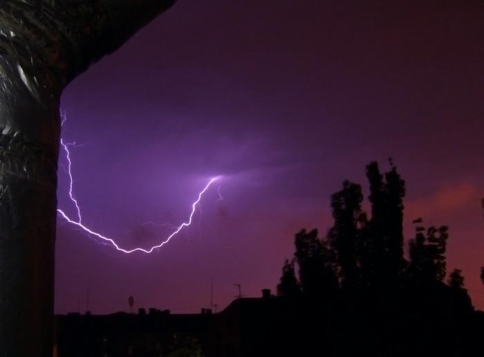 молния, ночь, вспышка, небо