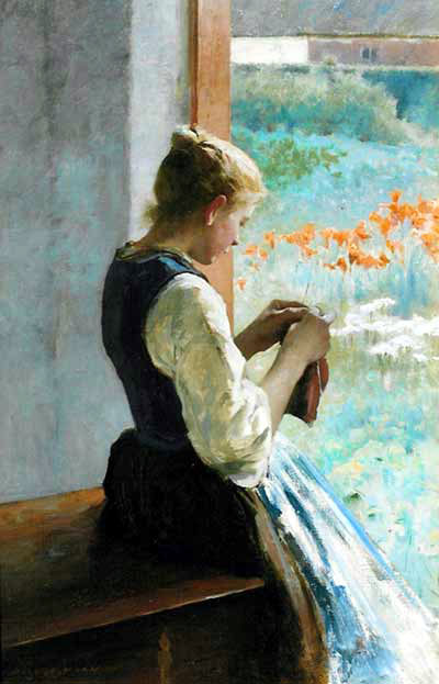salmson hugo Swedish 1843-1894  girl sewing (400x623, 60 Kb)
