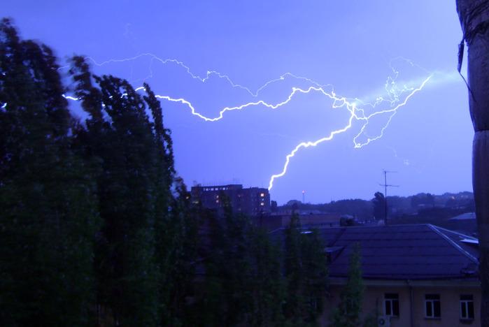 молния, вспышка, ночь