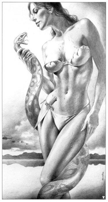 Девушка и змея - вышивка
