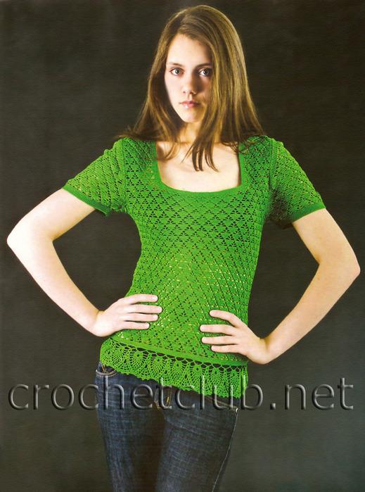 Зелёная футболка крючком