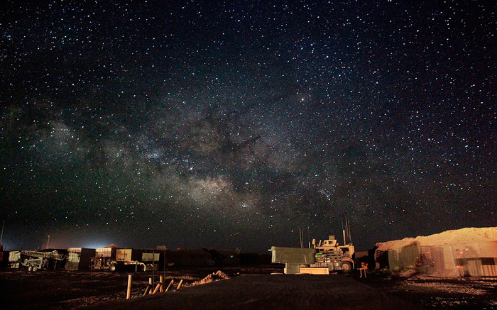 June 4, 2010 picture shows the starry desert night over Camp Hansen at Marjah, in the Helmand province of Afghanistan. (AP Photo/The Virginian-Pilot, Hyunsoo Leo Kim)