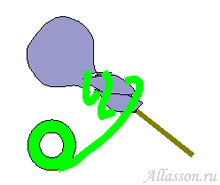 4. Плотно обмотать черенок тейп-лентой от конфеты до середины