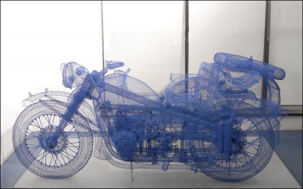 Wire-Frame модель мотоцикла с люлькой в реальности