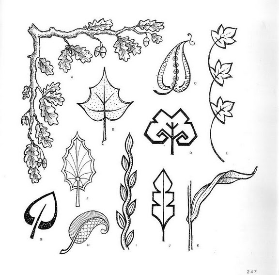 шаблоны листьев, стилизованные листочки