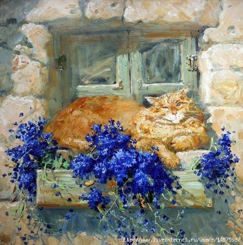 """Схема вышивки  """"Коты и цветы """" ."""
