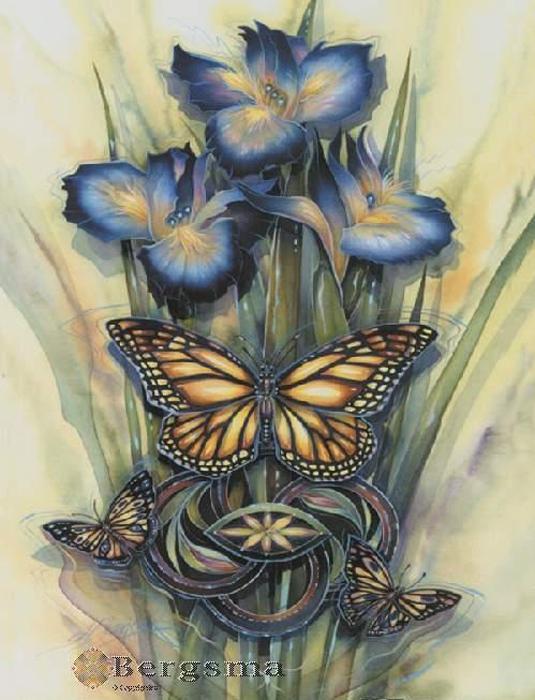 СХЕМА.  Бабочка от Michele Sayetta.  Вышивка крестом, схемы.