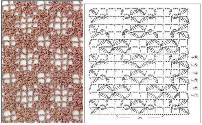 схемы и узоры для вязания крючком.