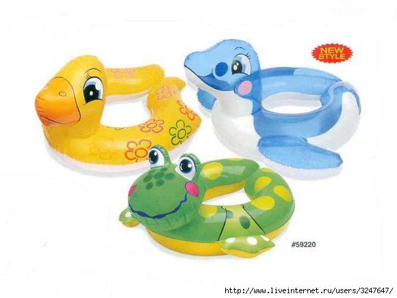 Надувные игрушки для моря и аксессуары.  Круг Животный 61х56, пакет Наш...