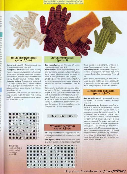 Схема вязания спицами детских перчаток 40