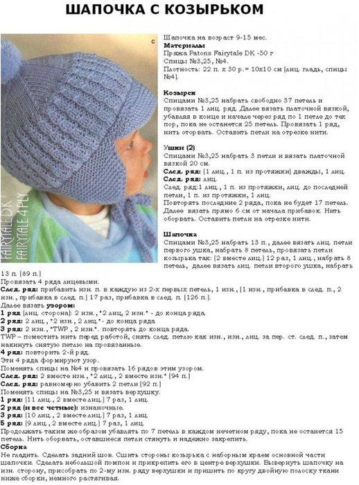 Схемы вязаний спицами детских шапочек