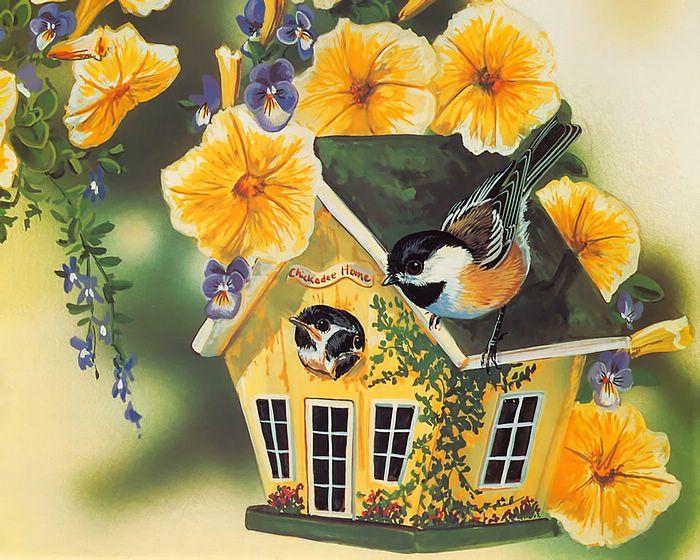 свой цитатник или сообщество!  Домики с цветами для птиц.  Прочитать целикомВ.