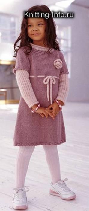 Вязаные платья для девочек. вязаное летнее платье спицами схема.
