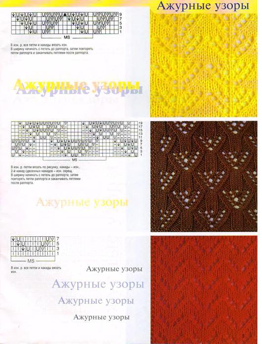Схема вязания спицами удлиненного берета.