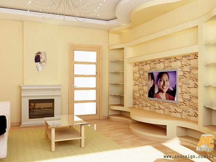 Дизайн стена под телевизор