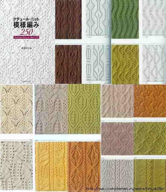 250 узоров для вязания спицами со схемами.