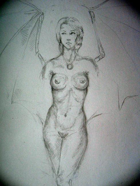 красивые голые девушки нарисованные простым карандашом
