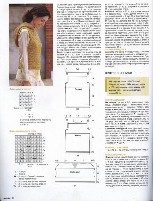 Схема вязания безрукавки с капюшоном спицами 14