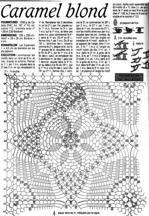 Схема вязания ажурного пледа для новорожденных крючком 58