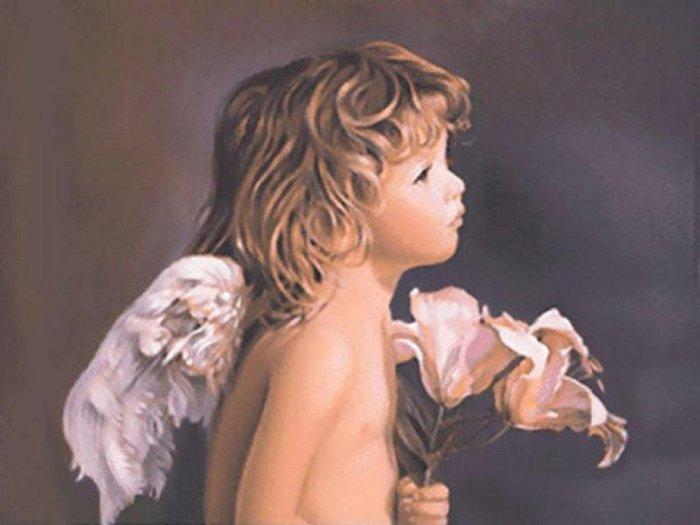 """Оригинал схемы вышивки  """"Милый ангел """".  Милый ангел, дети, ангел, картина, портрет."""
