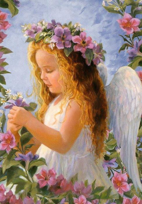 Вышивка крестом ангел цветочный 29