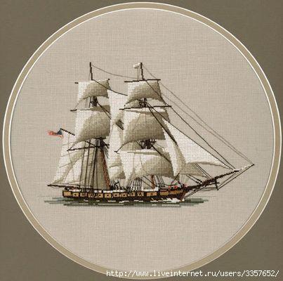"""Оригинальное сообщение.  Вышивка  """"Корабль """".  Это цитата сообщения.  Сараева_Катющка."""