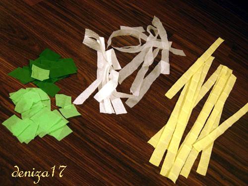 A теперь как делается это дерево: Нам потребуются следующие материалы: гофрированная бумага (или салфетки или...