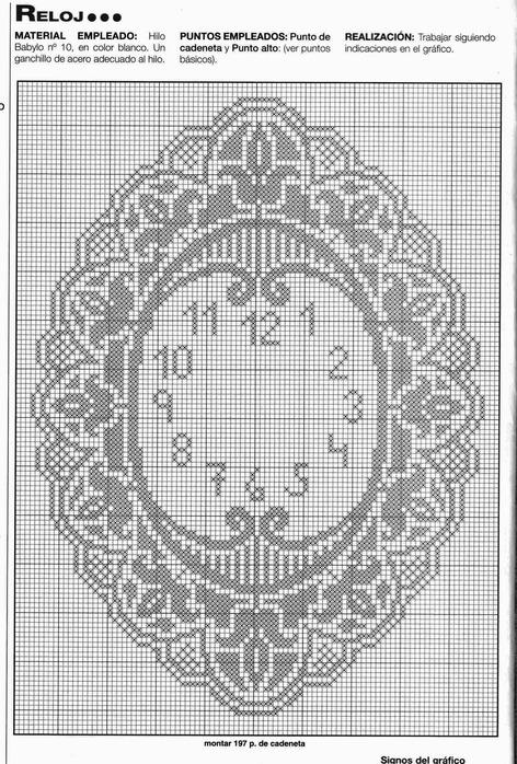 Схема вязания часов крючком