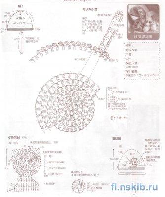 Схема детской шапки из ракушек
