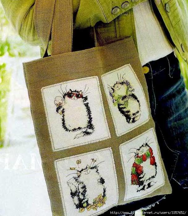 """свой цитатник или сообщество!  Вышитая сумка  """"Четыре кота """"."""