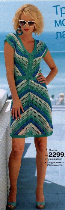 написала.  Вязание Крючком.  Жанет.  СХЕМА. платье Италия.