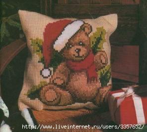 """Вышивание крестиком  """"Новогодний Мишка """" ."""