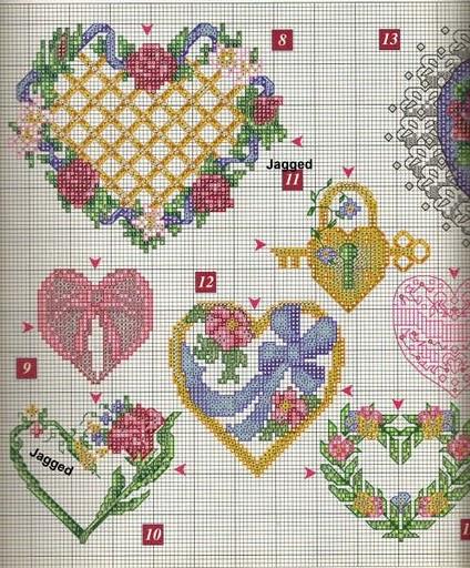 Схемы для вышивания сердечек на день святого валентина.  Скачать схемы бесплатно (все четыре) .