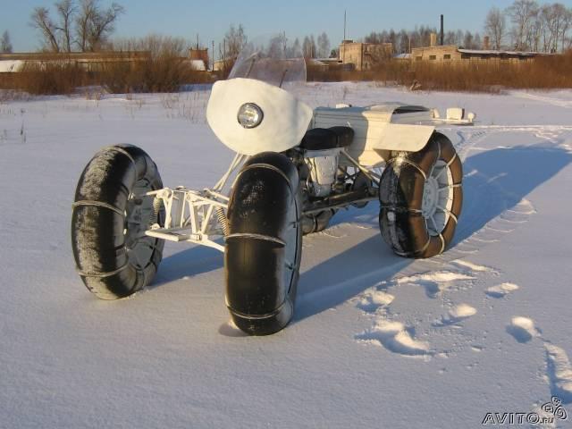 Снегоход с мотоцикла.  Самодельные снегоходы.