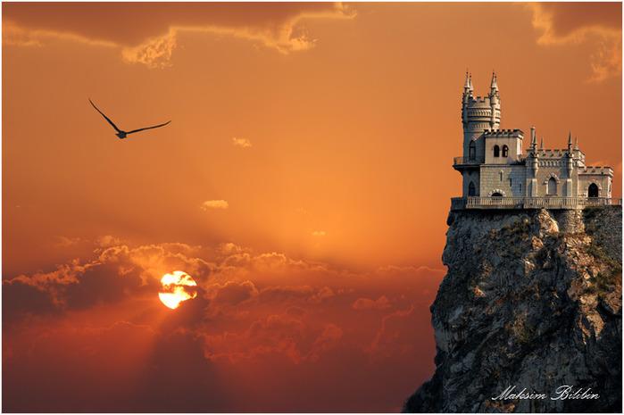 морской замок на закате  № 153759  скачать