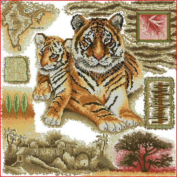 Схема подушка тигры