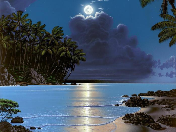 Лунной ночью слепая Фортуна Напевала любовный роман, Снилась мне голубая лагуна И глубокий как сон океан.