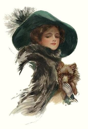 "Оригинал схемы вышивки  ""дама с собачкой "". дама с собачкой, картина девушка шляпа собака, оригинал."