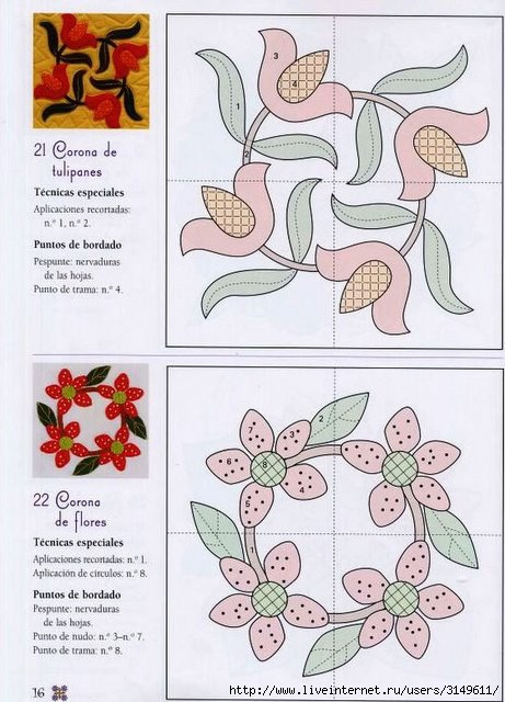 Гавайский Пэчворк, схемы для рукоделия и небольшой. мастер класс по лоскутном шитью. для любителей этого направления.