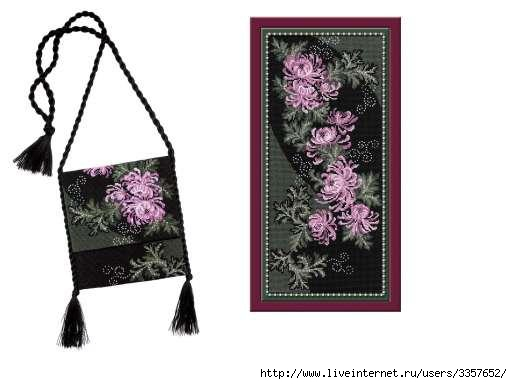 """...сумочка  """"Хризантемы """" """" нитки: шерсть цветов: 7 размер: 16*36 см канва: хлопок К6 цветная буклет: цветная схема..."""