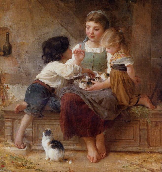 Авторы.  Марка нитей.  Вышивка крестом.  Друзья.  Теги: котята.  Гамма, 60 цветов.  164x200 крестов.