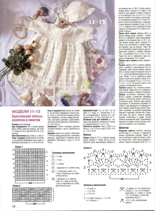 Крестильное платье для девочки связанное крючком 03 месяца со схемами.