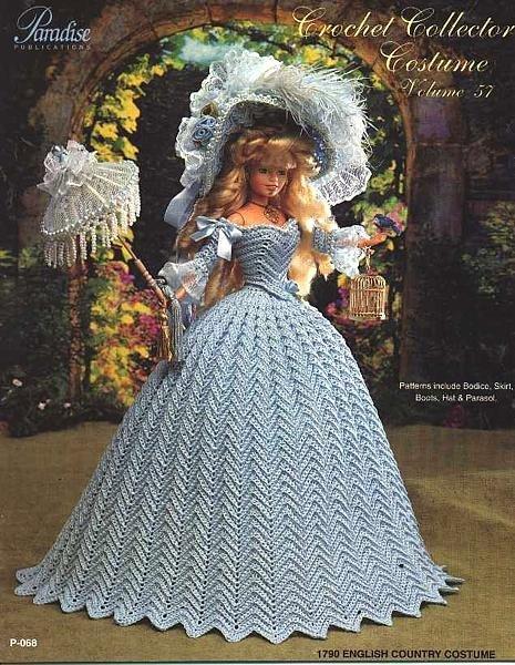 Кукла Барби в нарядах старых эпох ( вязанные крючком) .