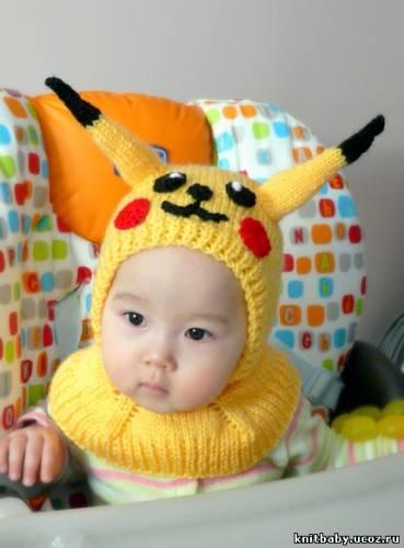 вязаные детские шапочки с