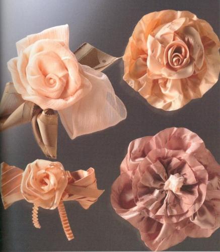 цветы из атласных лент фото - Сумки.