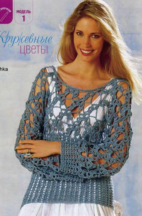 Элегантный, летний ажурный пуловер, связанный крючком.