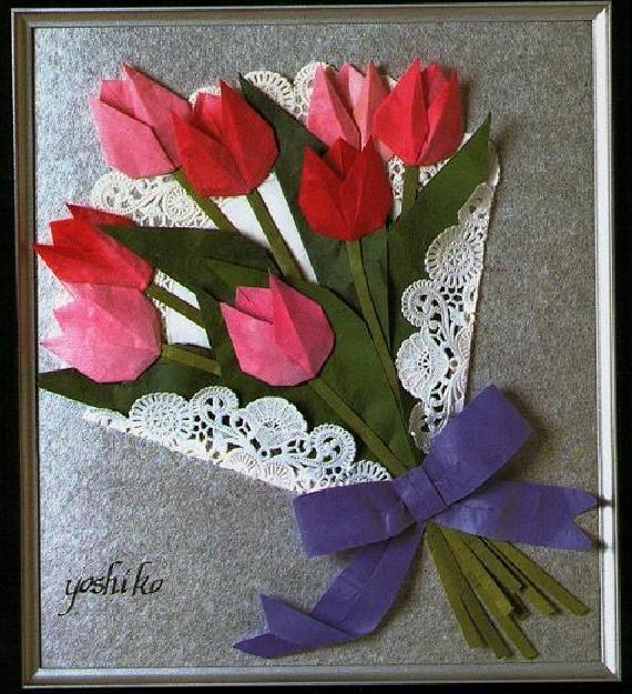 Тюльпаны из бумаги открытку