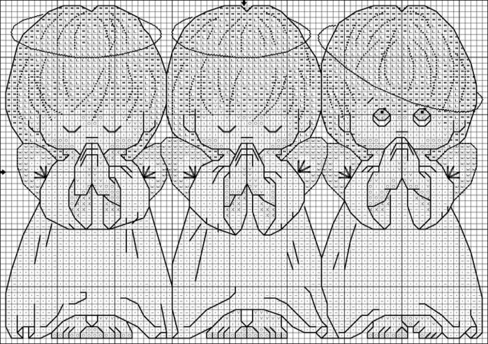 3 ангелочка схема вышивки крестом